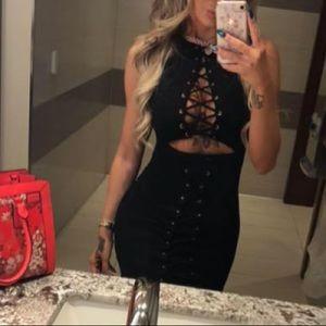 Fashion nova Size medium black knee length dress
